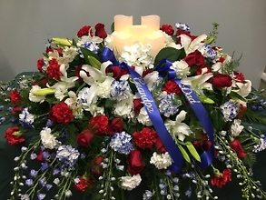 Casket Cover: Patriotic With LED Candles