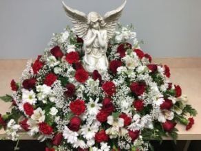 Casket Cover: Angel with Red & White