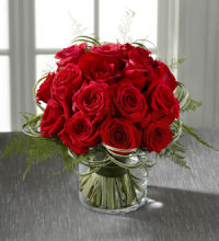 Rose: Red Roses-Abundant Rose in Cylinder Vase
