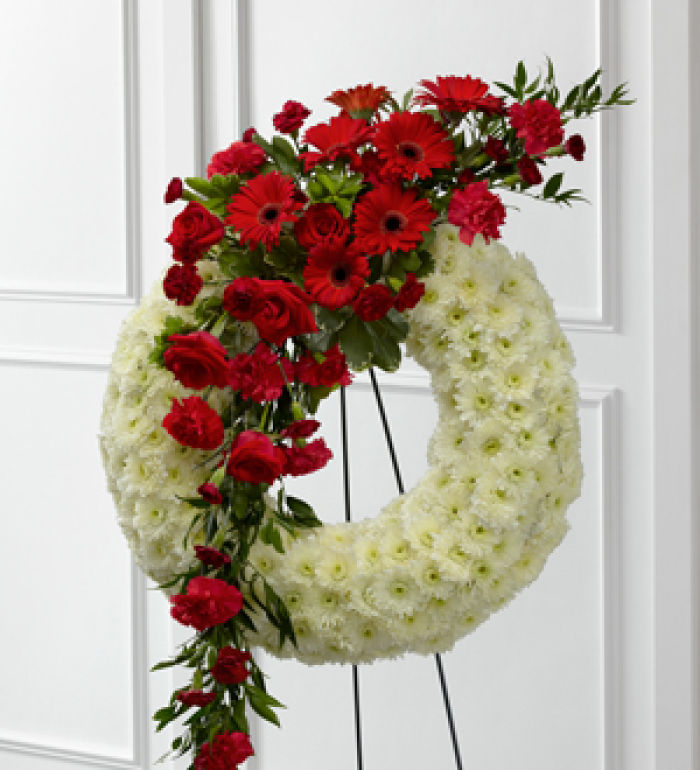 Wreath: Graceful Tribute Wreath-white with red cluster