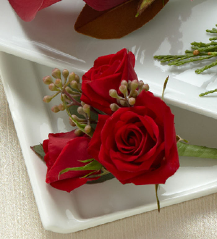 Bout: Red Spray Rose Boutonniere