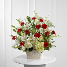 In Loving Memory Basket- White with Red