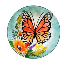 Birdbath: 2GB834 Florals & Monarch Butterfly