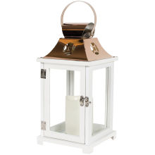 Lantern: C57419 White with copper top & LED candle