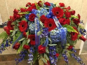 Casket Cover: Red & Blue