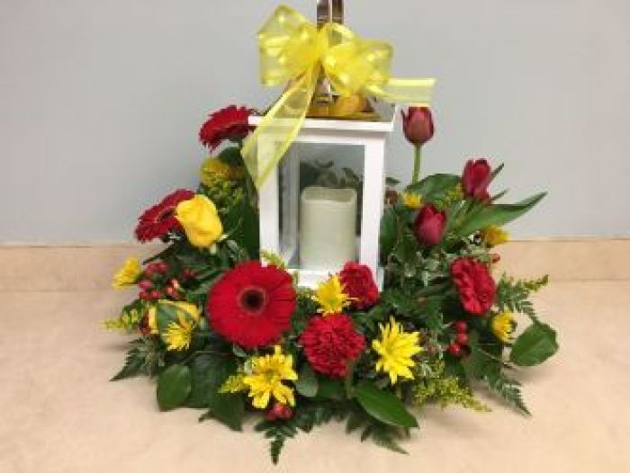 Lantern with Candle, Red & Yellow Flowers