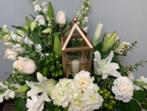 Lantern: Gilded Lantern with white floral design