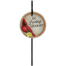 "Stone: C12880 Mini Floral Pick Cardinals ""Loving Memory\"""
